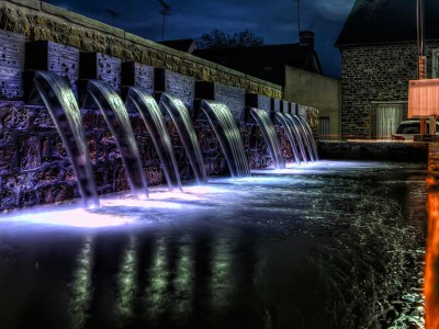 acigne rennes fontaine ornementale mairie diluvial nuit fountain chute eau