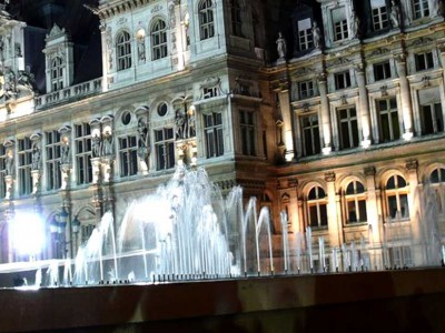 paris hotel ville fontaine ornementale diluvial nuit fountain