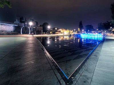 water miror fountain nantes mercoeur fountain night