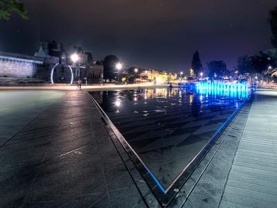water miror fountain nantes mercoeur fountain night