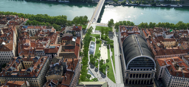 Perspective du projet de réaménagement des places Pradel et Louis Tolosan à Lyon