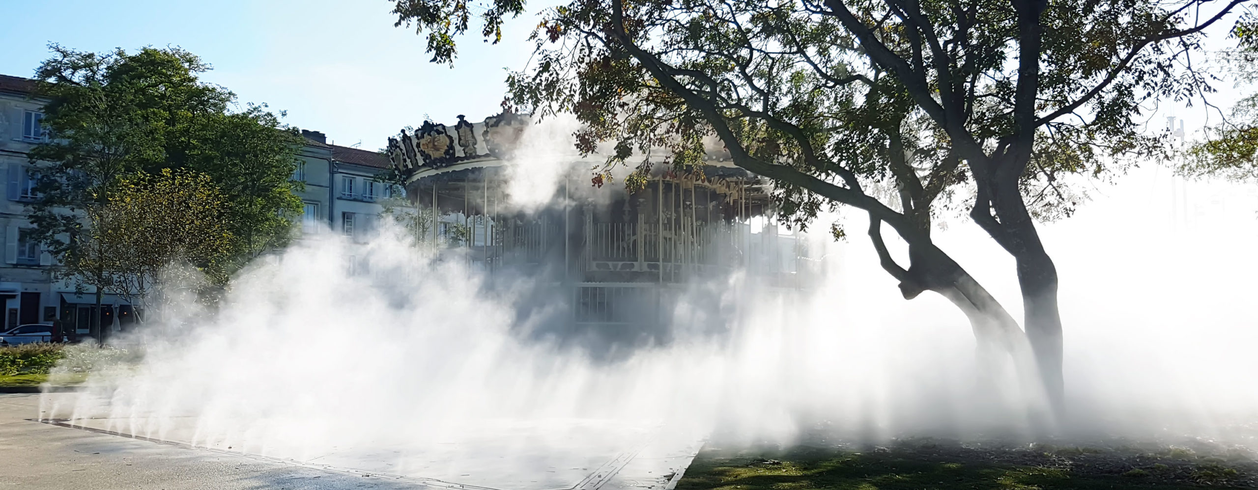 beziers jean jaures diluvial water feature fontaine fog brume fontaine