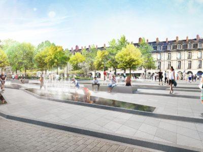 fontaines miroir bassins jets d'eau Diluvial Nantes Commerce Feydeau