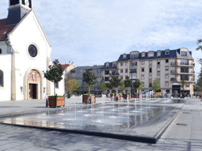 Les fontaines jumelles de la Place de la Liberté à La Garenne-Colombes